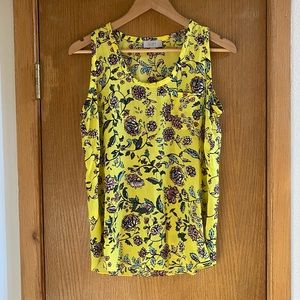 LOFT • ☀️ Bright Yellow Floral Top Blouse - Size S